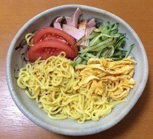 糖質ゼロカロリーオフ麺冷やし中華盛り付け写真